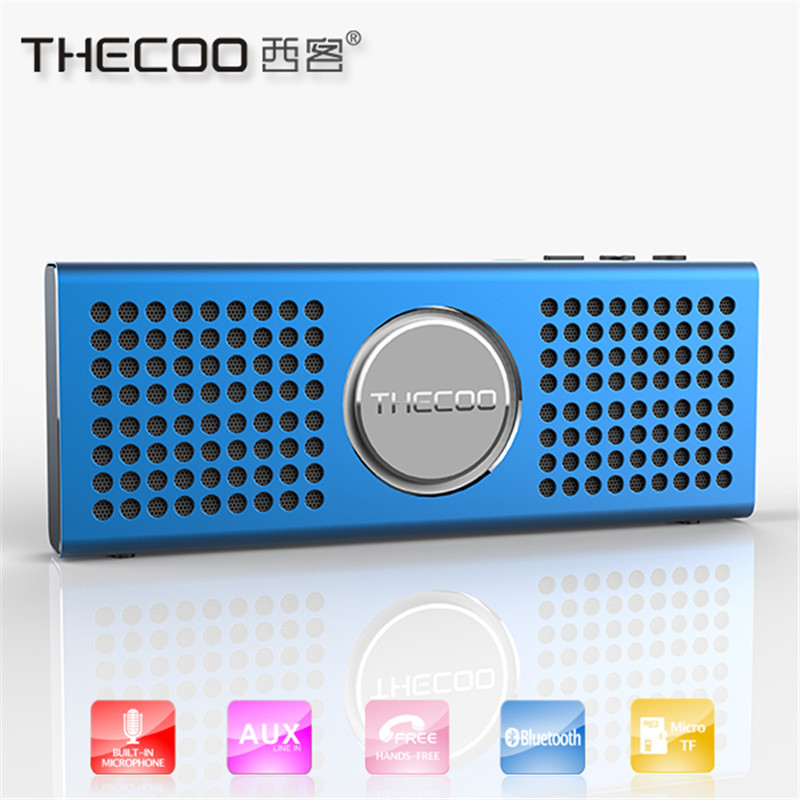 thecoo aluminum frame bluetooth speaker wireless stereo mini portable mp3 player pocket audio support handsfree tf
