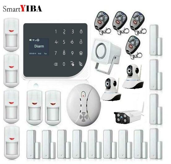 SmartYIBA WIFI GSM Home Burglar Alarm System GPRS Touch Keyboard English Russian Spanish Nederland Voice Outdoor Video IP Camera arduino atmega328p gboard 800 direct factory gsm gprs sim800 quad band development board 7v 23v with gsm gprs bt module