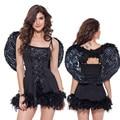 Hoge kwaliteit SExy angel kostuum vleugels volwassen fantasia quente hot erotische babypop lingerie jurk