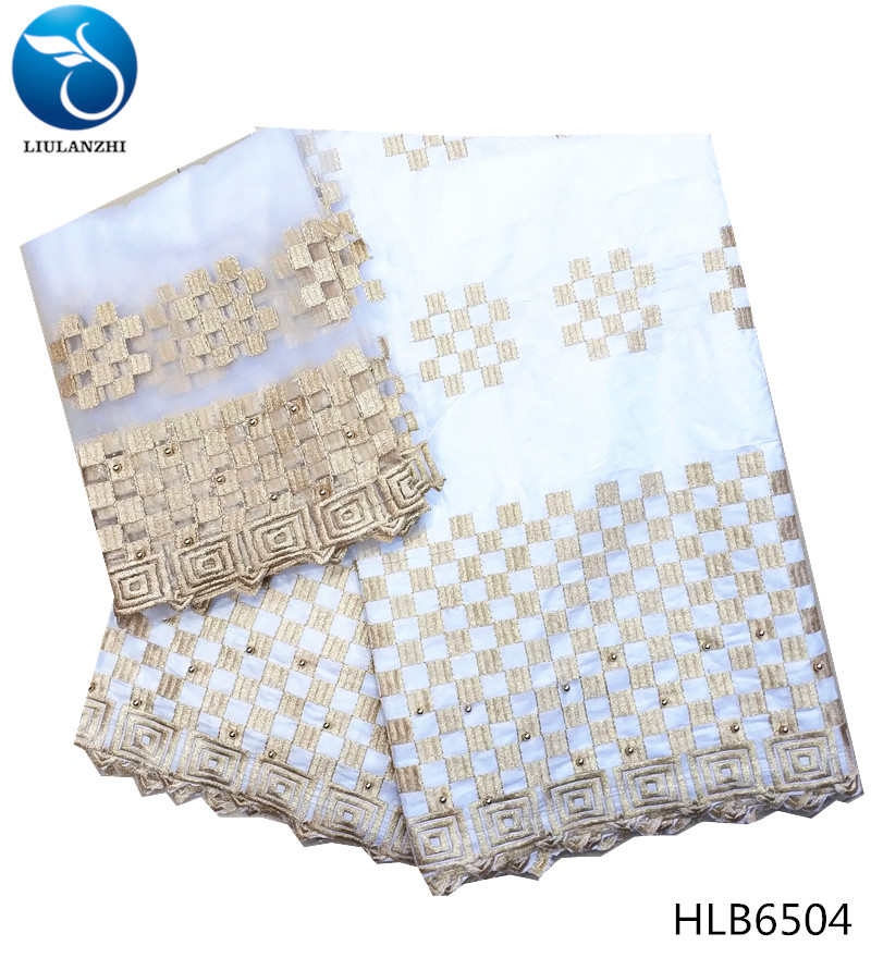 LIULANZHI White african bazin riche fabric New arrival gold thread embroidery bazin lace fabric with beads