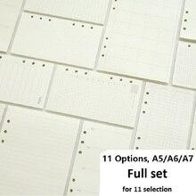 A5 A6 A7 hoja suelta recambio de cuaderno carpeta espiral planificador página interior papel diario semanal Plan para hacer línea Dot grid