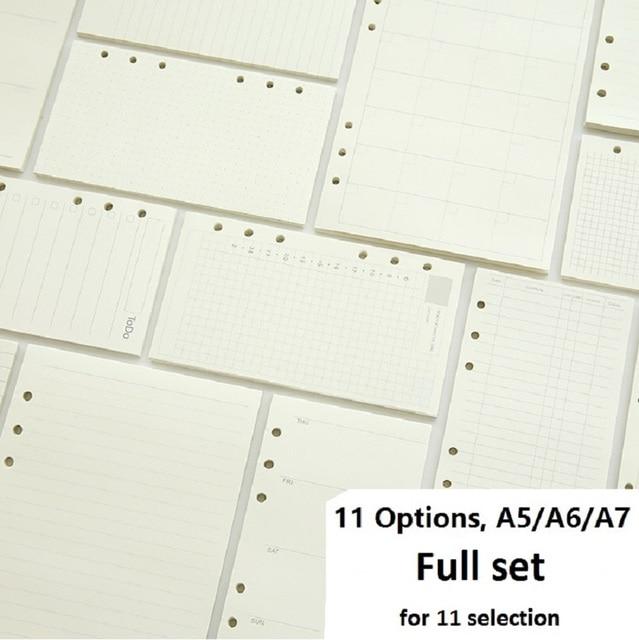 A5 A6 A7 cahier à feuilles mobiles recharge spirale classeur planificateur Page intérieure à lintérieur du papier laitier hebdomadaire Plan à faire ligne point grille