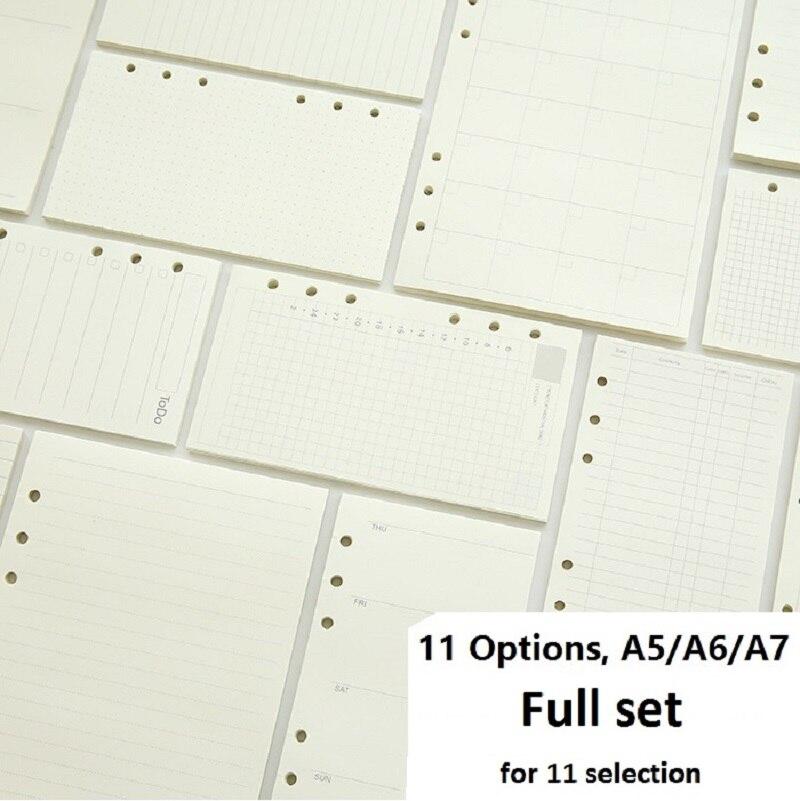A5 A6 A7 gevşek yaprak defter dolum Spiral bağlayıcı planlayıcısı iç sayfa kağıt içinde süt haftalık aylık Plan yapmak satır nokta ızgara