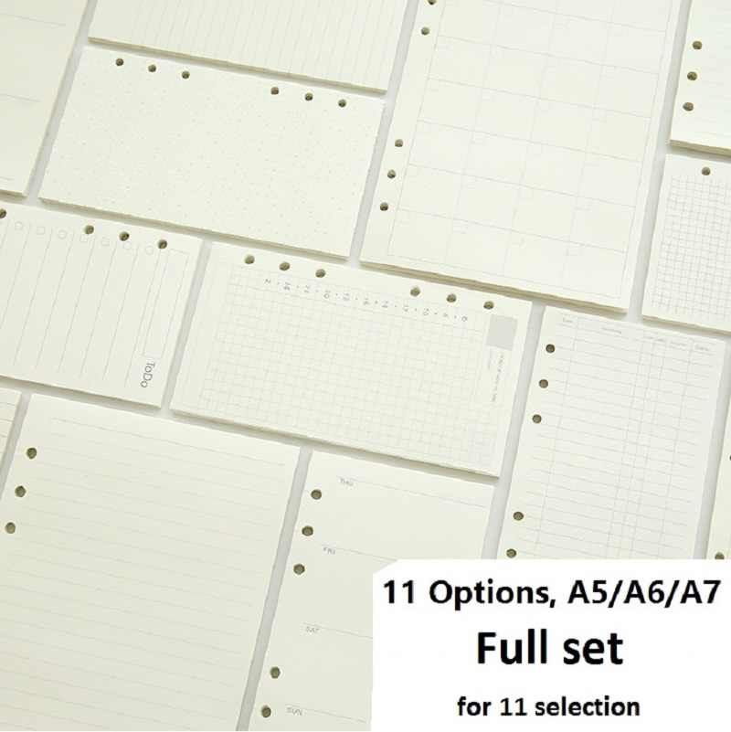 A5 A6 A7 רופף עלה מלוי מחברת ספירלת קלסר מתכנן פנימי דף בתוך נייר חלב חודשי שבועי תכנית לעשות קו דוט רשת
