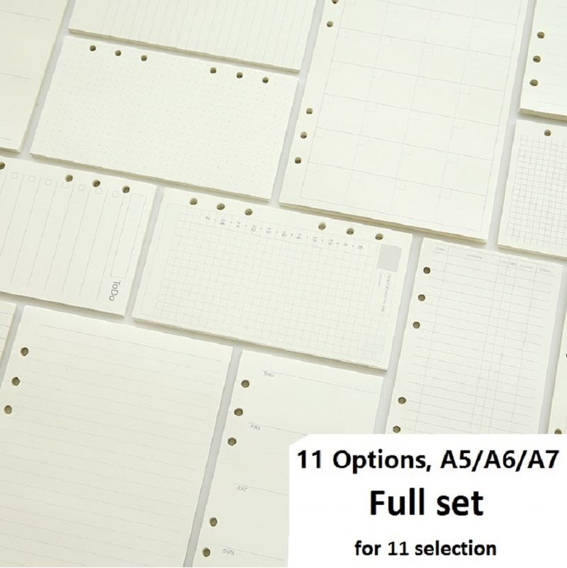 A5 a6 a7 folha solta caderno recarga espiral binder planner página interna dentro de papel leiteria semanal plano mensal para fazer linha dot grade