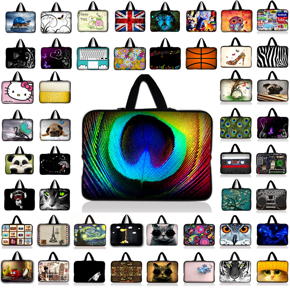 Peacock feather Notebook Bag Smart Cover Tablet Laptop Sleeve Case For 10 12 13  14  15 17 Macbook Hp Dell Laptop Bag