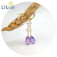 Lii Ji Gemstone Natural Faceted Amethyst Drop Beads Freshwater Pearl 925 Sterling Silver Earring Fahion Women Jewelry