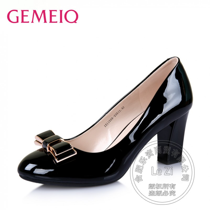 Comfortable Pure Color Glossy Lolita Patent Leather Round Toe Noble font b Women b font Office