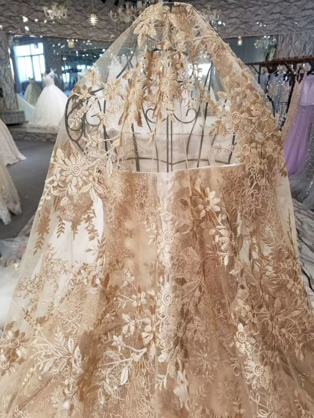 Real Photos Luxury Heavily Crystal Beaded Arabic Wedding Dress with 2M Royal Train with Match Long Veils Chmpange Wedding Dress in Wedding Dresses from Weddings Events