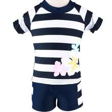 Striped Short Sleeve Swimsuit Girls UV UPF SPF 50+ Sun Block Protection Suit Kids Swimwear Swimming Bathing Costume Beach Wear