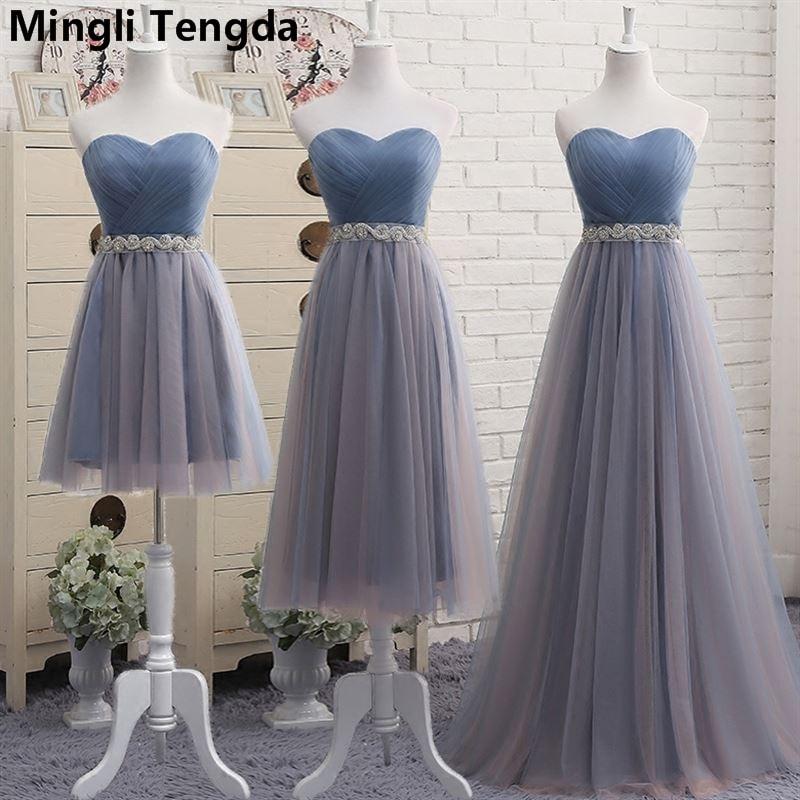 Mingli Tengda 2018 New A-Line Strapless   Bridesmaid     Dresses   Off the Shoulder Elegant   Bridesmaid     Dress   robe demoiselle d'honneur