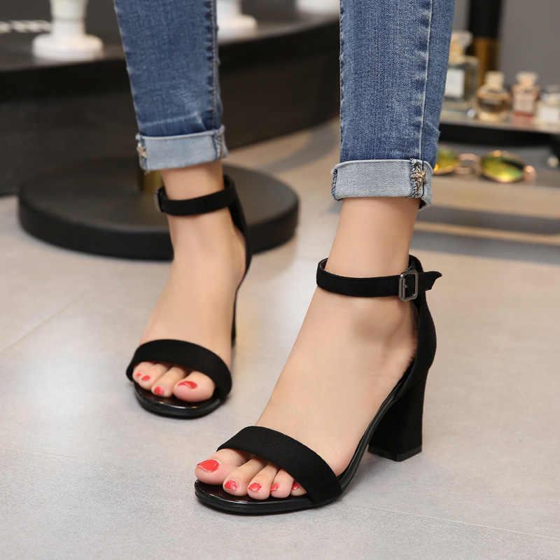 SLYXSH 2019 Ayak Bileği Kayışı Topuklu Kadın Sandalet Yaz Ayakkabı Kadınlar Açık Toe Tıknaz Yüksek Topuklu Parti Elbise Sandalet
