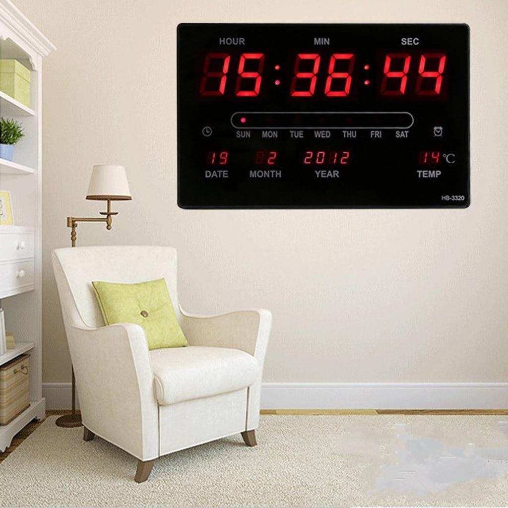 Horloge murale numérique grand calendrier LED horloge de bureau température intérieure