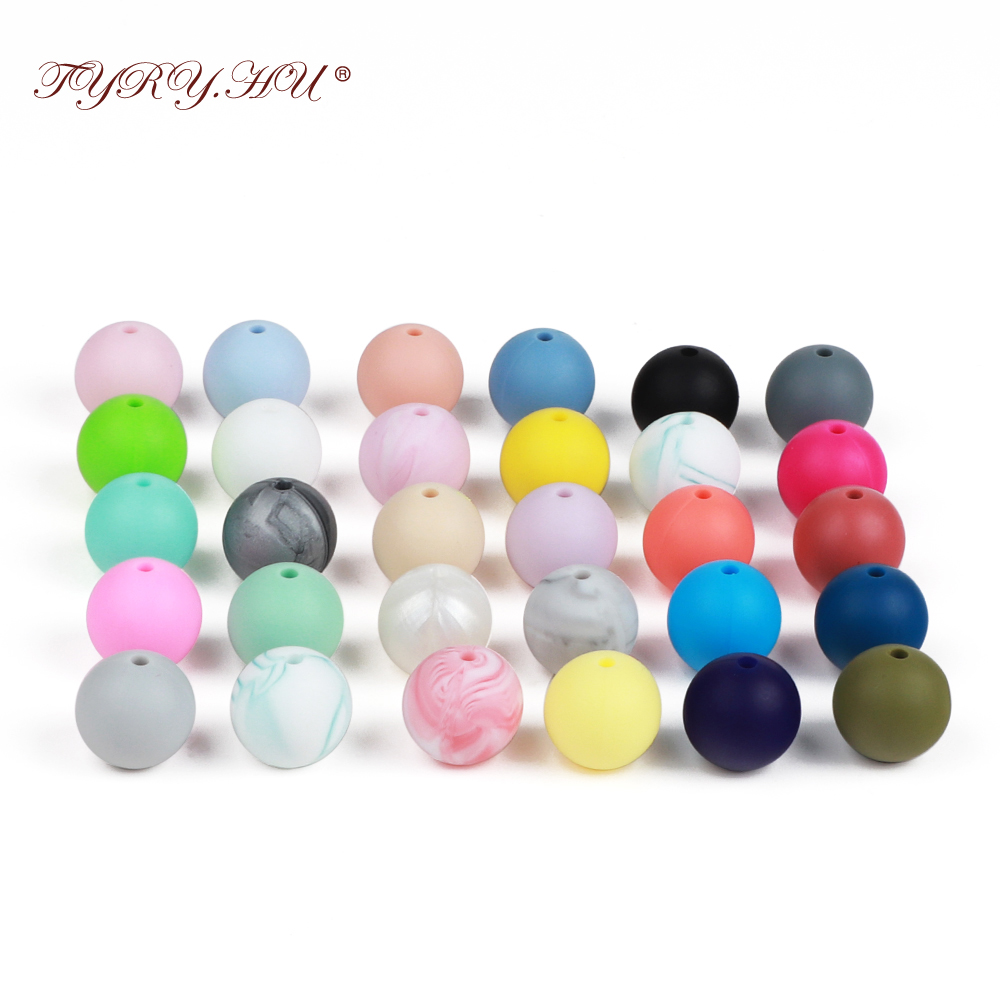 TYRY.HU 100pc Round Silicone Beads 15mm Baby bijtring Teethers Accessories Food Grade Silicone Teething Necklace Baby Teether