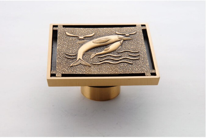 free shipping 10cm*10cm Europe Style Antique Brass Art Carved fish Brass Floor Drain Cover Shower Waste Drainer free shipping deodorant floor waste drain oil rubbed bronze 10cmshower floor cover sink grate