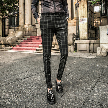 Pantalones a cuadros para hombre Pantaloni Tuta Uomo pantalones formales de negocios para hombre pantalones de vestir ajustados pantalones de hombre Formal Oficina Calca Social