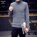 New Hot 2016 Outono inverno hedging Coreano moda Slim grosso camisola de gola alta homens lazer cor sólida todo o jogo camisola quente