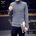 Nueva Caliente 2016 Del invierno Del Otoño de Corea moda Delgado cuello alto grueso suéter de cobertura hombres de ocio del todo-fósforo del color sólido suéter caliente