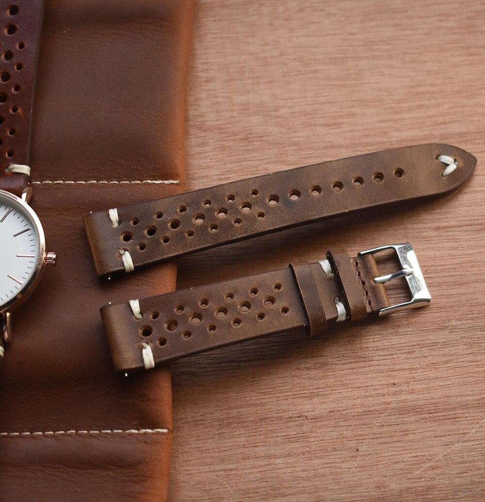 Faixa De Relógio de Couro Feitos à mão Retro Mão-Costurado Perfurado Suede Bezerro Watch Strap Pulseira 18mm 20mm 22mm