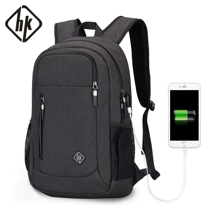Backpack Male USB Waterproof Laptop Backpack 15.6 Inch Notebook School Bags Black Grey Men Travel Back Pack Fashion Computer Bag ozuko multi functional men backpack waterproof usb charge computer backpacks 15inch laptop bag creative student school bags 2018