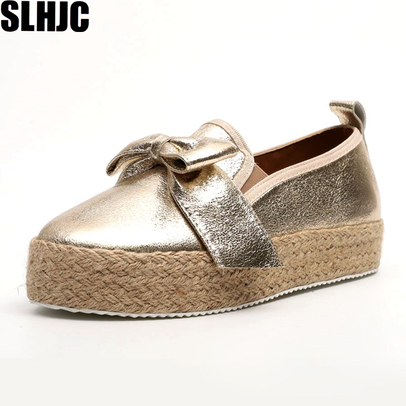 SLHJC Casual Canvas Shoes Women 2019 Spring Autumn Elevator Flat Heel Slip On Loafers With Big Knot