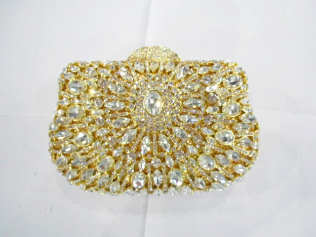 ФОТО 8285 Crystal Floral Flower Wedding Bridal Party Night hollow Gold Metal Evening purse clutch bag case handbag box
