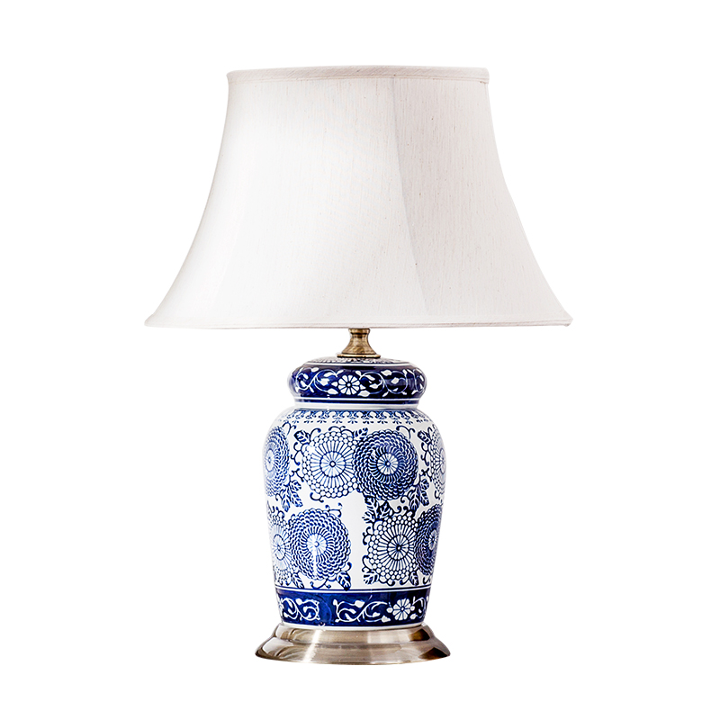 High End Classical Elegant Hand Painted Chinese Blue And White Porcelain Led E27 Table Lamp For Living Room Bedroom H 50cm 1281