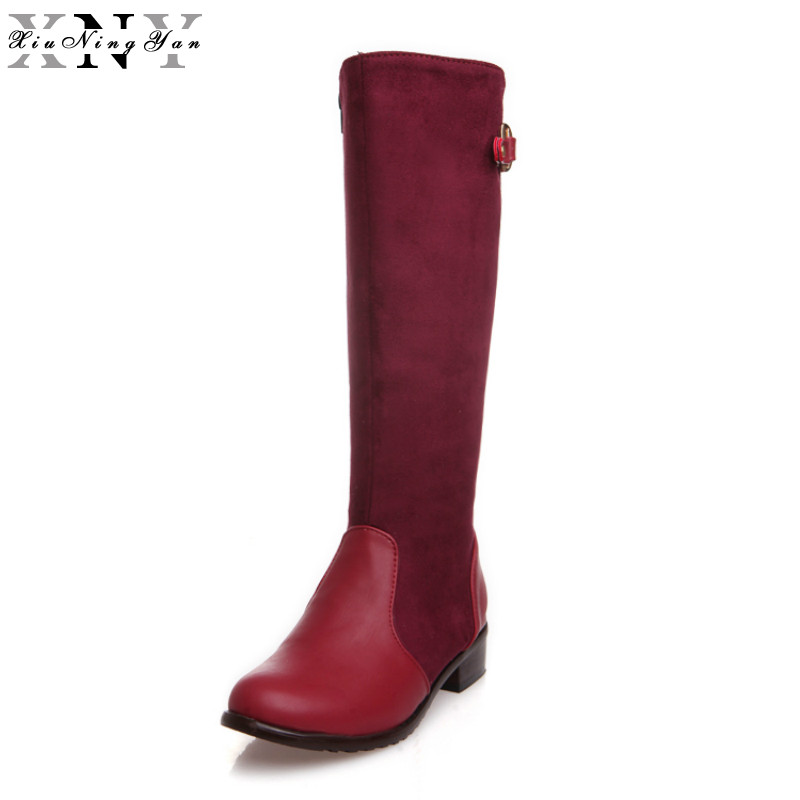 XiuNingYan Russia Women Boots Big Size 35-44 Keep Warm Sexy Boots Fashion Winter Mid Calf Boots Fashion Shoes Woman Mixed Color double buckle cross straps mid calf boots