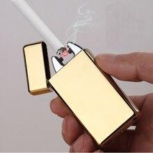 Прикуриватель Некурящих Аксессуары Электрической Дуги Ветрозащитный Аккумуляторная Непламено Нет Газа Металла Пульс USB Зажигалки с коробкой
