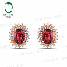 CaiMao 18KT/750 Rose Gold 1.82 ct Natural IF Pink tourmaline & 0.46 ct Full Cut Diamond Engagement Gemstone Earrings Jewelry