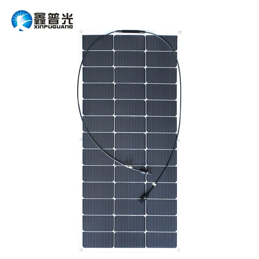 Xinpuguang Solar Panel Flexible 100W 20V New Desigh Efficient Solar Cell for 12V 18V Battery System DIY RV Car Marine Boat Home