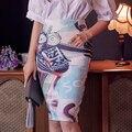 NOVO 2016 mulheres moda tops plus size cintura alta verão pintura de impressão padrão cintura passo saia saco hip ocupação 910J 25