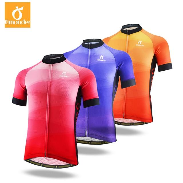60c55abf0 EMONDER Men Cycling Short Jersey Pro Fit Three Colors Antislip Sleeve Cuff  Road Bike MTB Short Sleeve Mesh breathable fabric