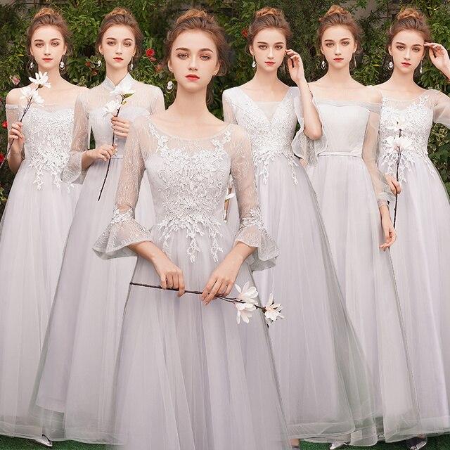 Beauty-Emily Long Lace Bridesmaid Dresses 2018 A-Line Off the Shoulder Half Sleeve Vestido da dama de honra