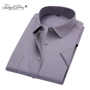 DAVYDAISY 2019 New Arrival Men Summer Short Sleeve Shirt Men's Business Work Shirts Man Solid Twill Shirt Brand Clothes DS215 Dress Shirts