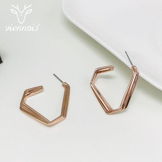 Viennios Rose Gold Color Geometric Zircon Earrings Big Hoop Earrings Female  Statement Earrings Women Fashion Jewelry ef9126e351ff