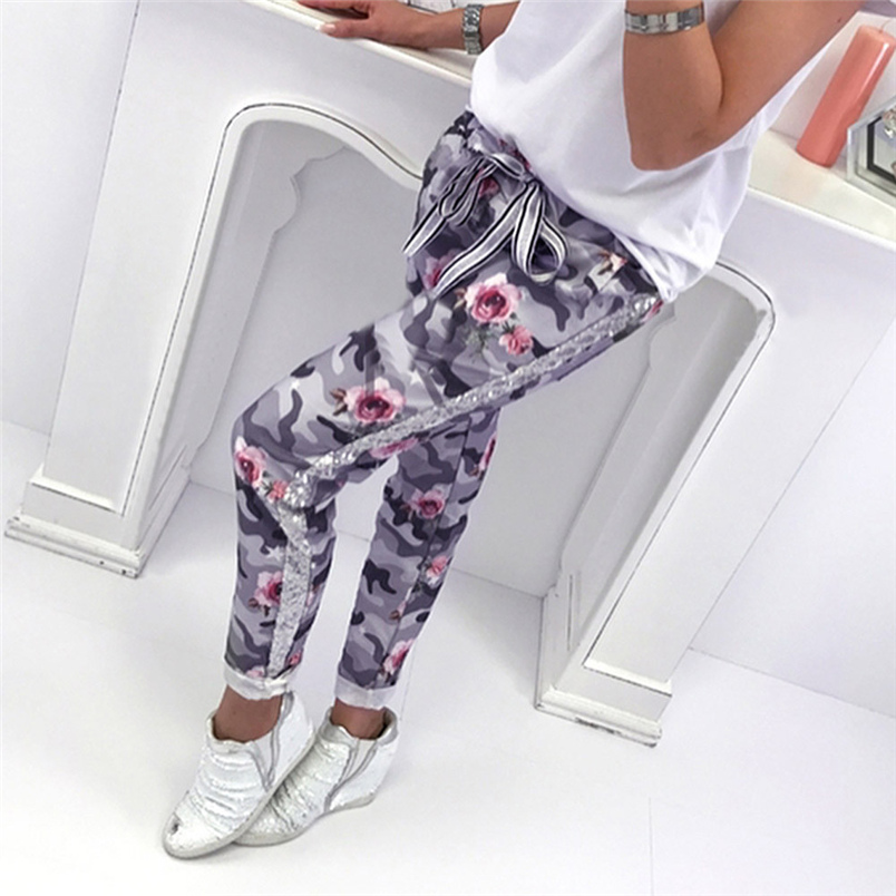 Fashion Womens Pants 2018 New Arrival Comfortable Sequins Camouflage Print Bandage Patchwork Mid Waist Long Pants Trousers F#J12 (11)