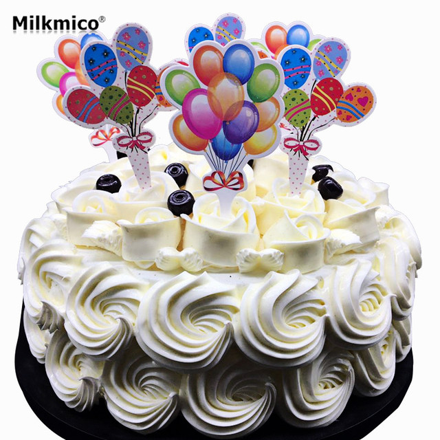 20pcs New Cake Toppers Balloon Birthday Theme Cake Stand Kids