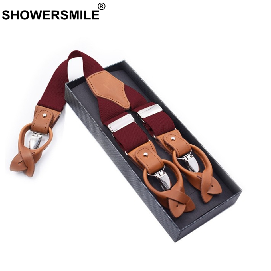 SHOWERSMILE Men Suspender Clips Solid Red Shirt Braces Leather Elastic Male Wide Suspenders 3.5cm Khaki Blue Black Coffee