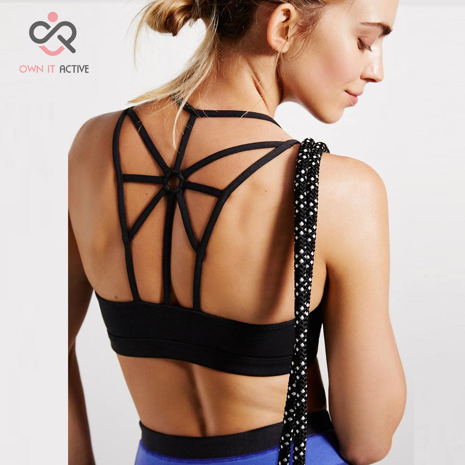 Icyzone Women Activewear Yoga Clothes Strappy Crisscross: Women Strappy Open Back Sport Bra Yoga Running High