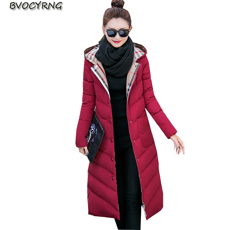 2017New Winter European Big Yards Women Long Style Coat High-end Elegant Warm Feather Cotton Hooded Jacket Slim Parka Q554 2017new winter fashion elegant women coat hooded big yards medium long high end jacket eiderdown cotton slim warm coat q457