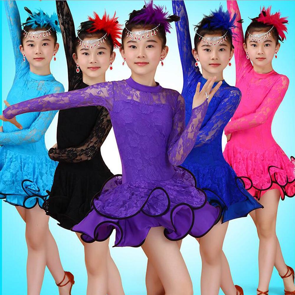 Girl Lace  Long Sleeves Latin Dancewear Standard Kids Latin Competition Dance Dress Children Salsa Ballroom Dancing Costumes