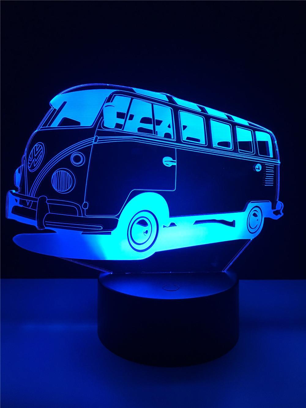 Bus 3D Illusion Lamp Multicolor LED Desk Table Night Light Control Colors Changing Decoration LED Lamp Fashion Creative Led Ligh