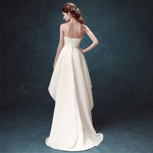 Princess Bride Wedding Dresses Short front Long Back Flower Formal Dress off shoulder Marriage Party Gown New