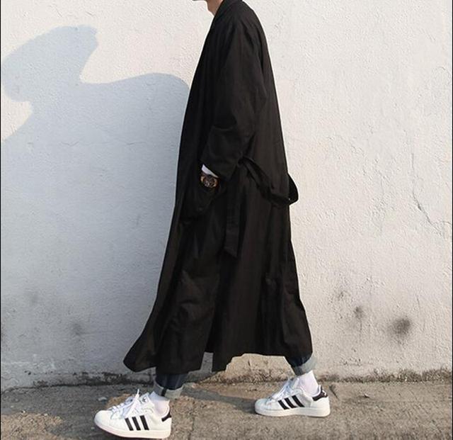 Outono Solto Casaco Casuais dos homens Coreia Do Sul Vento Britânico cavalheiro X-Longo blusão jaqueta sem gravata fivela macho longo manto 30