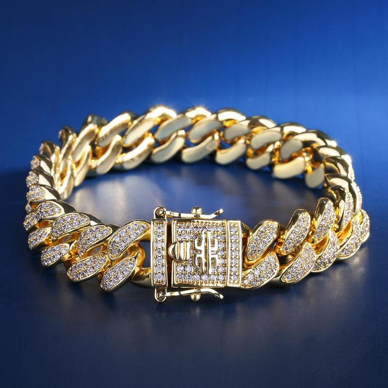18mm 8 pouces plaque d'or Zircon Cuba Bracelet Hip Hop Bracelet gravure Miami natif américain mâle grand Cuba hommes Bracelet en or