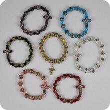 Перегородчатая четки бусины браслеты боком крест кулон кристаллы, стразы, эмаль ручной работы Религиозный браслет