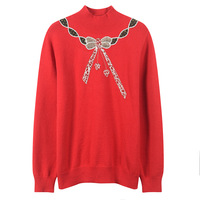 Fashion 2018 Autumn Winter Women Sweater and Pullover Knitted Runway Designer Turtleneck Loose Bow Sequin Red Jumpers Clothes