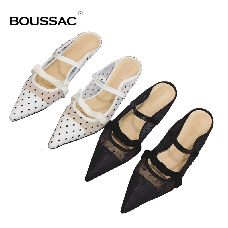 fc1c1488ba1 Boussac Polka Dot Kitten Heel Women Mules Sexy Pointed Toe High Heels Women  Pumps Elegant Lace