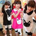 2016 New Kids Girls Clothes 2 pcs Cotton Kitty Pattern Lapel T-shirt+Short Pants Outfits Free Shipping